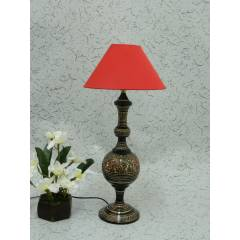 Tucasa Classic Brass Carving Table Lamp with Red Conical Shade, LG-981