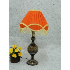 Tucasa Classic Brass Carving Orange Lacy Shade Table Lamp, LG-973