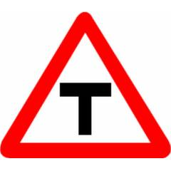 Asian Loto 3 mm Traffic Road Safety Sign T-Junction Sign Board Sign Board, ALC-SGN-54-900