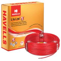 Havells 0.5 Sq mm Single Core Life Line Plus Red Flexible Cable, WHFFDNRA1X50, Length: 90 m