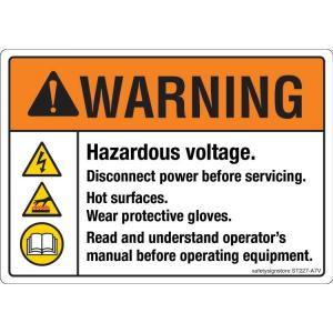 Safety Sign Store Warning: Hazardous Voltage Sign Board, ST227-A7V-01, (Pack of 10)