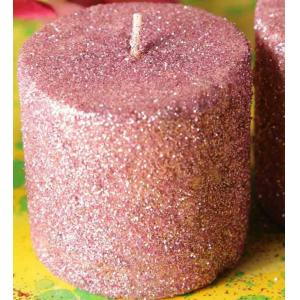 Riflection 2 Inch Pink Decorative Pillar Shaped Sparkle Candle, 1270
