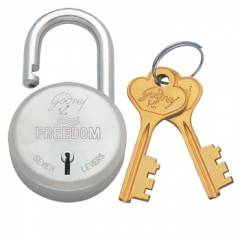 Godrej Freedom 7 Levers Brass & SS Padlock (2 Keys), 3066