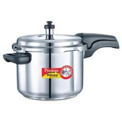 Prestige Deluxe Alpha Base 6.5 Litre Outer Lid Stainless Steel Pressure Cooker, 20606