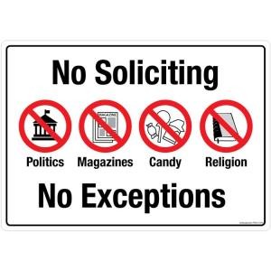 Safety Sign Store No Soliciting, No Exceptions Sign Board, PS413-A3PC-01