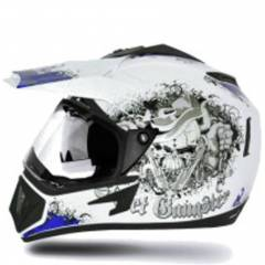 Vega Off Road Gangster Motocross White Blue Helmet, Size (Medium, 580 mm)