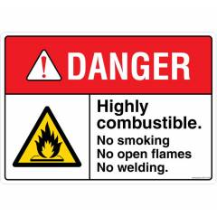 Safety Sign Store Danger: Highly Combustible Sign Board, FE718-A4PC-01