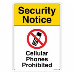 Safety Sign Store Security Notice: No Mobile Phones Sign Board, PS617-A4PC-01