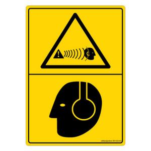 Safety Sign Store Warning: Hearing Hazard-Graphic Sign Board, DS108-A6V-01, (Pack of 5)