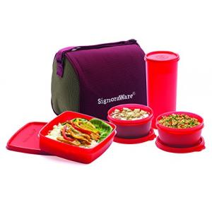 Signoraware Violet 2160 ml Combo Big Executive Lunch with Bag, 520