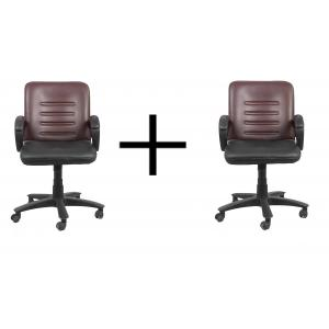 High Living Groove Magenta & Black Leatherette Medium Back Office Chair (Pack of 2)