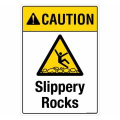 Safety Sign Store Caution: Slippery Rocks Sign Board, PS725-A4V-01