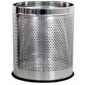 SBS 18 Litre Stainless Steel Perforated Open Dustbin, Size: 10x14 inch