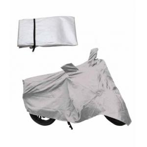 Quick N Easy Silver Bike Body Cover with Mirror Pocket For Bajaj Avenger 220