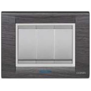 Cona Texture Silver Wood 16 Module Glow Plate, MT1110 (Pack of 10)