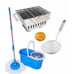 Taptree Assorted Steel Mop with Free Barbeque & Deep Fry Strainer, MOP0589