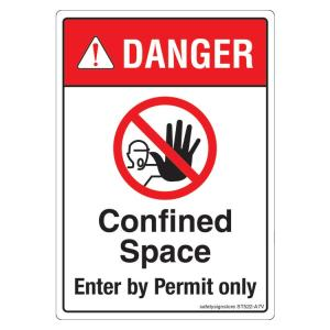 Safety Sign Store Danger: Confined Space, Enter By Permit only Sign Board, ST522-A7PC-01, (Pack of 10)