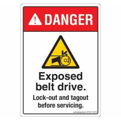 Safety Sign Store Danger: Exposed Belt Drive Sign Board, ST517-A7PC-01, (Pack of 10)