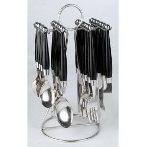 Elegante 24 Pieces Solitaire Black Stainless Steel & Plastic Cutlery Set, SL-108B
