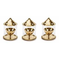 Heaven Decor Brass Golden Small Akhand Diya, HD20006 (Pack of 3)