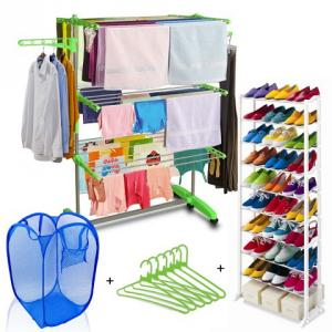 Kawachi C109 Combo of Cloth Drying Stand, Laundry Basket, Plastic Hanger & 10 Layer Shoe Rack