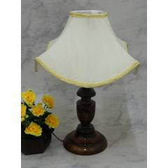 Tucasa Royal Wooden Table Lamp with Off White Designer Shade, LG-819