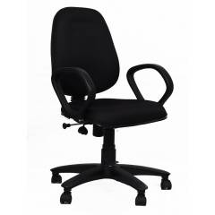 R P Enterprises Opus Medium Back Black Office Chair, Dimensions: 45x48x60 cm