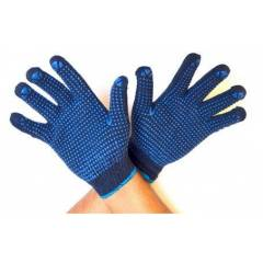 Midas Blue Dotted Cotton Safety Hand Gloves (Pack of 12)