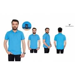 Blackberrys Sky Blue Customized T-shirt with Black Tipping & Placket, Size: XXL