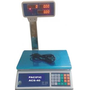 Pacific Double Display Counter Weighing Scale with Pole, Capacity: 30 kg