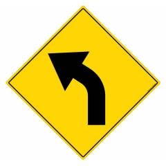 Safety Sign Store Caution: Road bend - Left Sign Board, TR229-600REF-01
