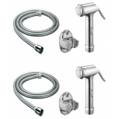 Snowbell Lite Health Faucet, 1m Flexible Tube & Wall Hook (Pack of 2)