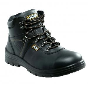 JCB Excavator Black Steel Toe Safety Shoes, Size: 10