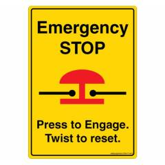 Safety Sign Store Emergency Stop Sign Board, DS417-A6V-01, (Pack of 5)