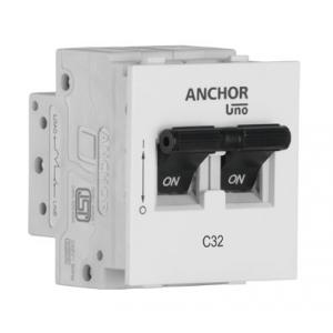 Anchor 32A UNO Series Double Pole Mini MCB, White (Pack of 2)