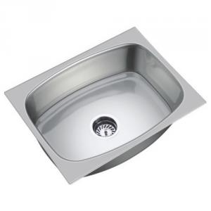 SteelKraft SSDB-113B Single Bowl Stainless Steel Sink with Drain Board, Size: 16x14 inch