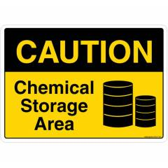 Safety Sign Store Caution: Chemical Storage Area Sign Board, SS107-A4V-01