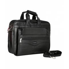 Easies Black Leather Office Document Bag, EB-0915