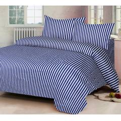 IWS Navy Blue Luxury Cotton Printed Double Bedsheet with 2 Pillow Covers, CB1502
