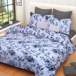 IWS Grey Luxury Cotton Printed Double Bedsheet with 2 Pillow Covers, CB1005