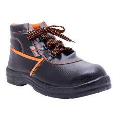 Polo Indcare Aero High Ankle Steel Toe Black & Orange Safety Shoes, Size: 7