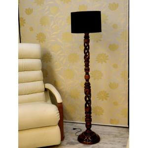 Tucasa Twisted Wooden Floor Lamp with Black Cylinder Shade, LG-861