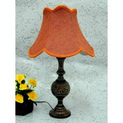 Tucasa Antique Brass Carving Table Lamp with Red Jute Shade, LG-854