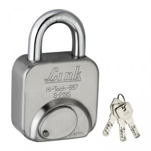 Link 57mm Stainless Steel Hi-Tech Silver Padlock with 3 Keys, L57-LHTL-57-1