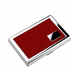 Stealodeal Red Leather Stainless Steel Card Holder