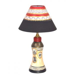 Vareesha Hand Painted Gold Table Lamp With Black Shade, VACL018