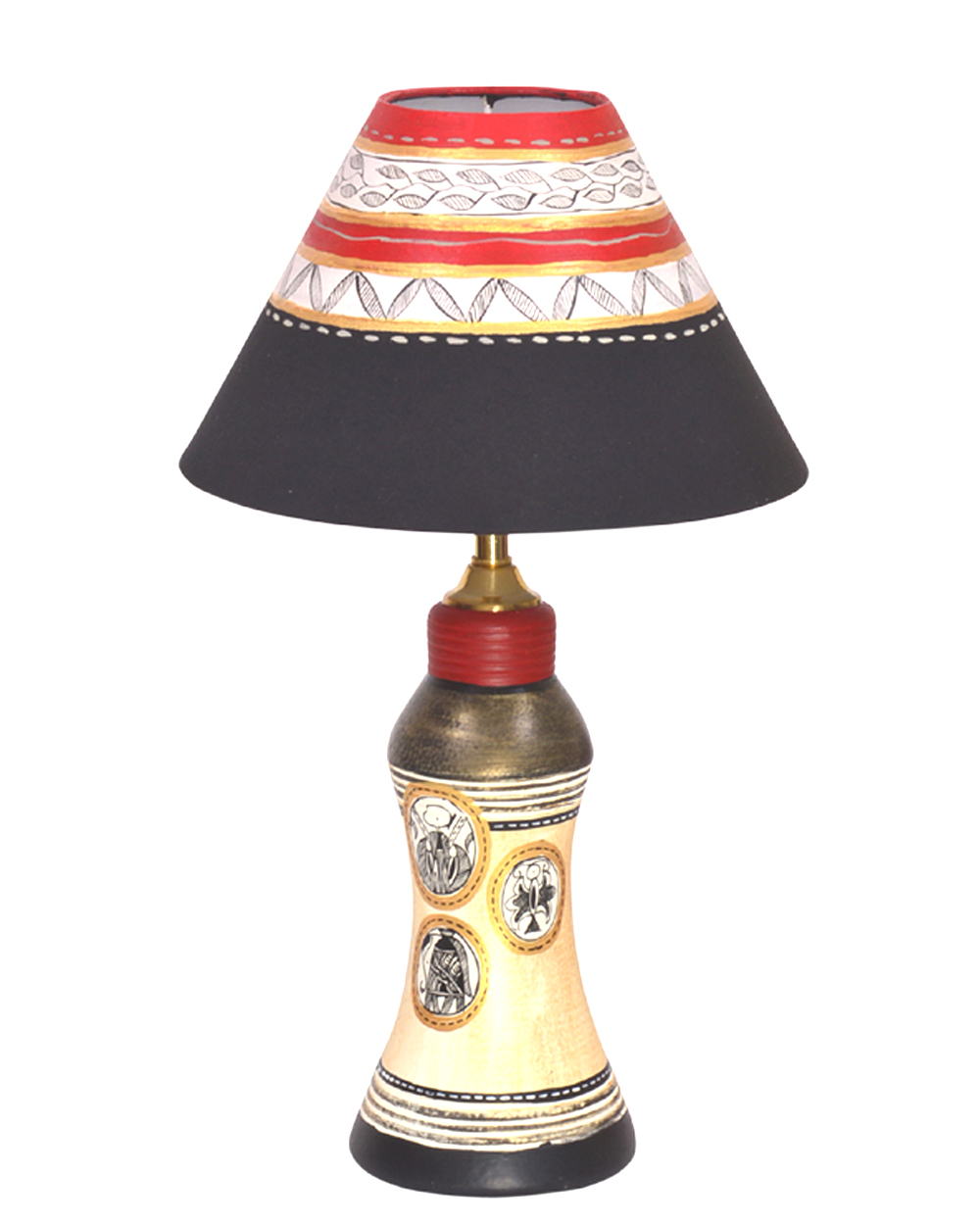 Vareesha Hand Painted Gold Table Lamp With Black Shade Vacl018