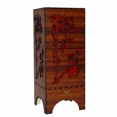 Dizionzrio DTBLPBR Red Handicrafts Wooden Look Hand Made Night Table Lamp