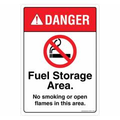 Safety Sign Store Danger: Fuel Storage Area, No Smoking, No Open Flames Sign Board, SS411-A5AL-01
