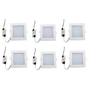 Superdeals 18W White LED Square Panel Light, SD382 (Pack of 6)